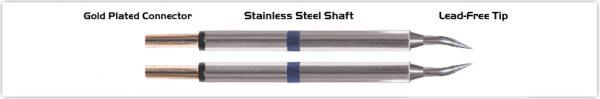 """Thermaltronics M60TZ004 Tweezers Cartridge Pair - Bent 30deg Sharp 0.4mm (0.016"""")"""