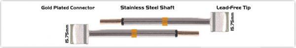 """Thermaltronics M70TZ160 Tweezers Cartridge Pair - Blade Tip 15.75mm (0.62"""")"""