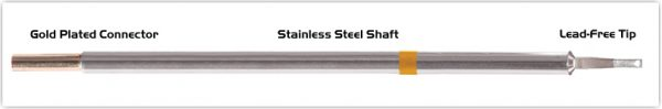 "Thermaltronics M7LR403 Chisel 60deg Long Reach 1.78mm (0.07"") interchangeable for Metcal STTC-142"