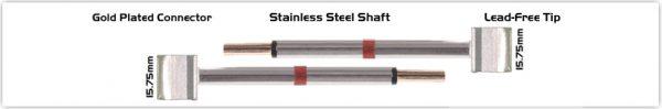 """Thermaltronics M80TZ160 Tweezers Cartridge Pair - Blade Tip 15.75mm (0.62"""")"""