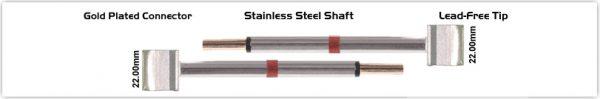 """Thermaltronics M80TZ220 Tweezers Cartridge Pair - Blade Tip 22.10mm (0.87"""")"""