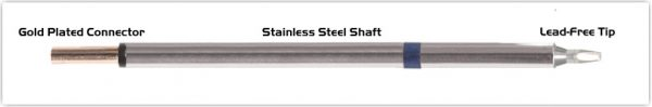 "Thermaltronics PM60CH176 Chisel 30deg 1.78mm (0.07"") interchangeable for Metcal STP-CH20"