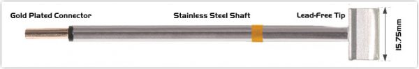 """Thermaltronics PM75LB126 Blade Tip 15.75mm (0.62"""") interchangeable for Metcal RFP-BL2"""