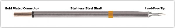 "Thermaltronics PM75LR400 Bevel 60deg Long Reach 1.0mm (0.04"") interchangeable for Metcal SFP-BVL10"