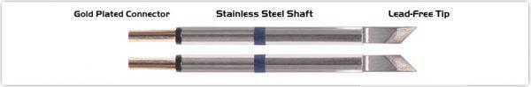 "Thermaltronics T60TZ025 Tweezers Cartridge Pair - Knife Tinned area 2.03mm (0.08"")"
