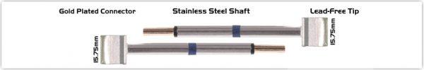 """Thermaltronics T60TZ160 Tweezers Cartridge Pair - Blade Tip 15.75mm (0.62"""")"""