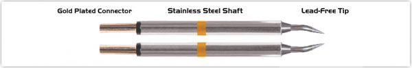 """Thermaltronics T70TZ004 Tweezers Cartridge Pair - Bent 30deg Sharp 0.4mm (0.016"""")"""