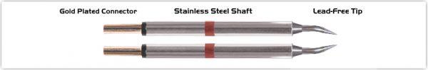 """Thermaltronics T80TZ004 Tweezers Cartridge Pair - Bent 30deg Sharp 0.4mm (0.016"""")"""