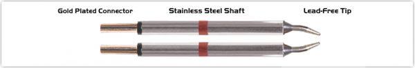 """Thermaltronics T80TZ010 Tweezers Cartridge Pair - Conical Sharp 1.0mm (0.04"""")"""