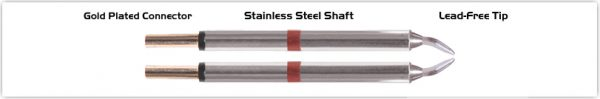 "Thermaltronics T80TZ015 Tweezers Cartridge Pair - Chisel 30deg 1.5mm (0.06"")"