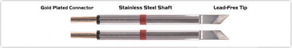 "Thermaltronics T80TZ025 Tweezers Cartridge Pair - Knife Tinned area 2.03mm (0.08"")"