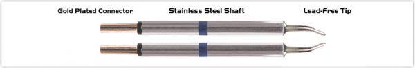 "Thermaltronics M60TZ018 Tweezers Cartridge Pair - Long Reach Chisel 1.78mm (0.07"")"