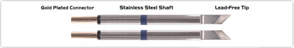 "Thermaltronics M60TZ025 Tweezers Cartridge Pair - Knife Tinned area 2.03mm (0.08"")"