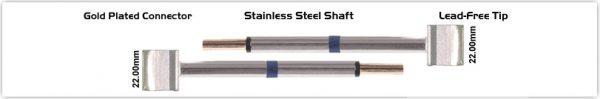 """Thermaltronics M60TZ220 Tweezers Cartridge Pair - Blade Tip 22.10mm (0.87"""")"""