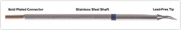 "Thermaltronics M6B325 Bent Sharp 30deg 0.4mm (0.016"") interchangeable for Metcal STTC-040"