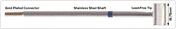 """Thermaltronics M6LB126 Blade Tip 15.75mm (0.62"""") interchangeable for Metcal SMTC-061"""