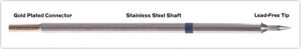"Thermaltronics M6LR400 Bevel 60deg Long Reach 1.0mm (0.04"") interchangeable for Metcal STTC-046"