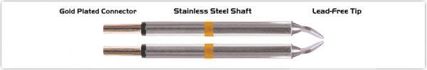 "Thermaltronics M70TZ015 Tweezers Cartridge Pair - Chisel 1.5mm (0.06"")"