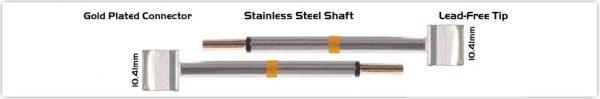 """Thermaltronics M70TZ100 Tweezers Cartridge Pair - Blade Tip 10.41mm (0.41"""")"""