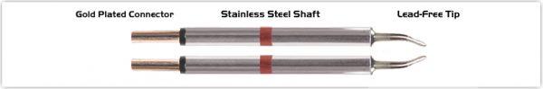 "Thermaltronics M80TZ018 Tweezers Cartridge Pair - Long Reach Chisel 1.78mm (0.07"")"