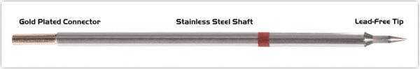 "Thermaltronics M8LR400 Bevel 60deg Long Reach 1.0mm (0.04"") interchangeable for Metcal STTC-846"