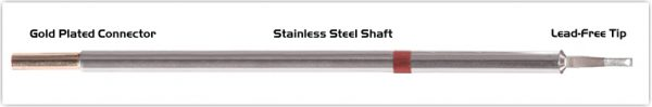 "Thermaltronics M8LR403 Chisel 60deg Long Reach 1.78mm (0.07"") interchangeable for Metcal STTC-842"